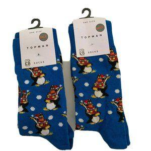 Topman Socks Christmas Holiday Penguin Snow Casual